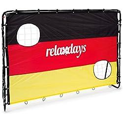 Relaxdays But de football Cage de foot avec cibles Jeu en plein air activités physiques Sport Drapeau allemand H x l x P 150 x 210 x 75 cm 2 trous pour l'entraînement, noir-rouge-or