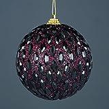 Bauble Jeweled Nero 2 x 10cm - Decorazioni dell'albero di Natale - Decorazioni appese