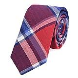 DonDon Herren Krawatte 6 cm kariert gestreift rot-blau