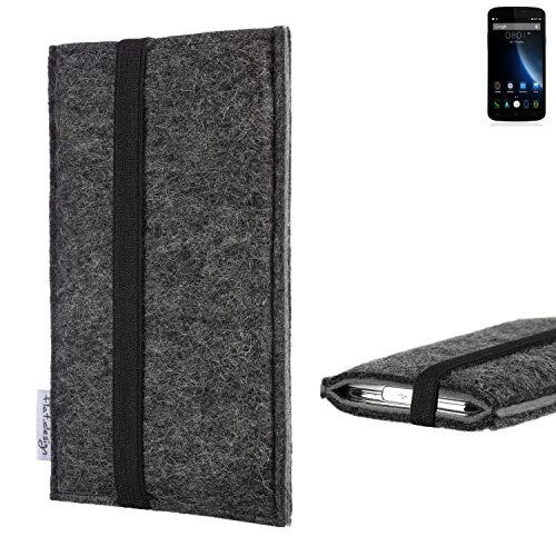 flat.design Handyhülle Lagoa für Doogee X6S   Farbe: anthrazit/grau   Smartphone-Tasche aus Filz   Handy Schutzhülle  Handytasche Made in Germany