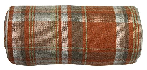 McAlister Textiles Boutique Deluxe Kollektion | Heritage Nackenrolle im Tartan-Muster kariert inkl. Füllung 45cm x 20cm in Terracotta Orange | Deko Nackenkissen Schottenkaro