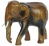 Namesakes Hölzerner Elefant - handgeschnitzt aus Holz - Figur - Skulptur - schöne Schnitzerei - Dekor für zu Hause - Größe Höhe 19cm