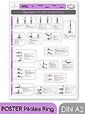 beneyu ® Pilates Poster für Pilates Ring/Oberschenkeltrainer in Deutscht, DIN A2 (60x42cm) aus Klimaschonender Produktion - (auf A4 gefalzt) (gefalten, DIN A2)