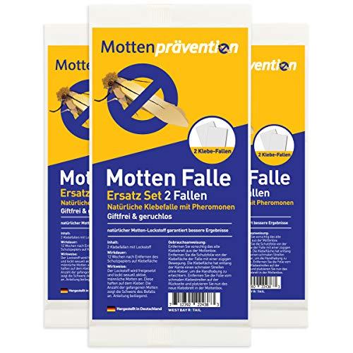 West Bay Retail Hochwirksame Mottenfalle gegen Kleidermotten Ersatz Klebefallen (6 Klebefallen) - für MottenPrävention Motten Fallen - Motten Kleider-falle