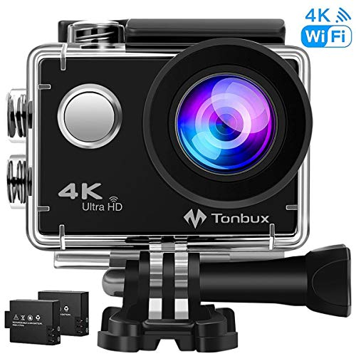 4K Sport Action Camera New Release Tonbux Waterproof WiFi Action Cam Underwater Sport Camera with 2.0 Inch Display 170 Degrees Wide Angle Lens, include 2 Rechargeable Batteries Kit of Accessories for Bike Motorcycle Surfing Diving Swimming Skiing etc. Black