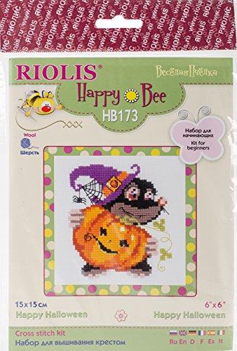 Riolis RHB173 Kreuzstich-Set, Motiv Happy Halloween, 15,2 x 15,2 cm, 10 Stück (Halloween Stitch Happy)