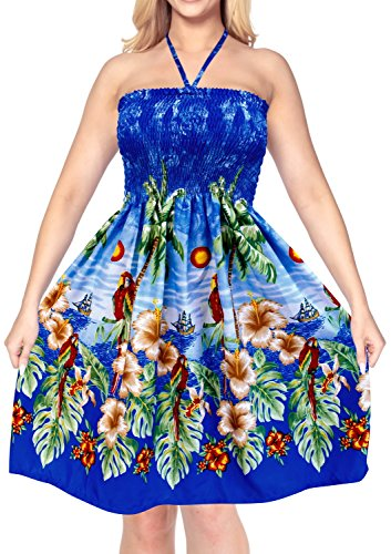 Kleid Halfter verschleiern maxi sundress Frauen Bademode Rock aloha Rohr nach oben Midi-Badeanzug Blau