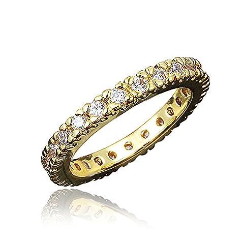 3MM Ladies Eternity Engagement Ring Wedding Band Pave Cubic Zirconia CZ UK Q
