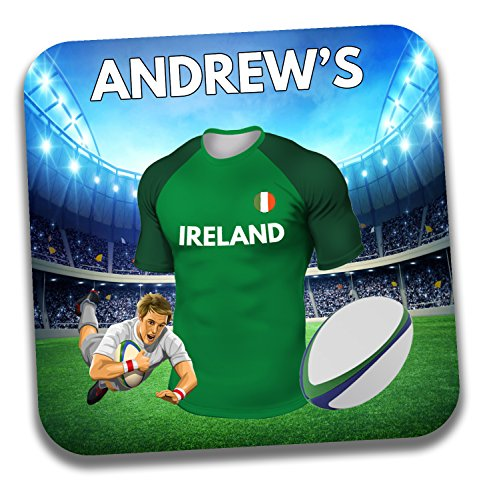 Personalisiertes Geschenk–Irland Rugby-Shirt Mottoparty Getränke Untersetzer/Bierdeckel–Geburtstagsgeschenk–Strumpffüller