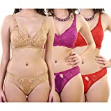 Yes Beauty Women's Lycra Lingerie Set -Set of 3