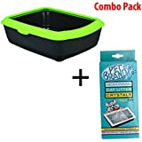 Trixie - Pet Brands Classic Cat Litter Tray With Rim (Apple Green) & Cat Litter De-Odorising Crystals (Combo Pack)