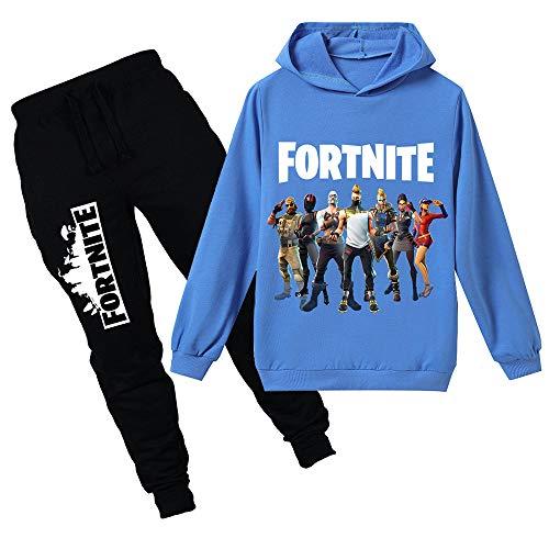 Suéter con Capucha Deportivo para niños, de Los HD Colorido 3D Imprimieron el suéter de Manga Larga con Capucha, chándal y pantalón Impresos + 4 Colores/Varios tamaños-Blue 130cm