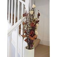 Bouquet di fiori artificiali ed essiccati, alto 85 cm, pronto per un vaso Chocolate & Cream