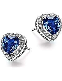7df971af9ff6 Caperci - Pendientes de tuerca de plata de ley con diseño de corazón de zafiro  azul
