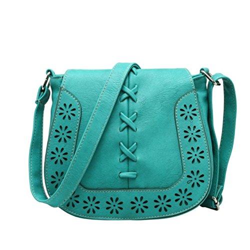 Honeymall Taschen Damen tasche Handtasche Schultertasche Umhängetasche Tasche klein gewebten Hohl Crossbody Bag(Hellbraun) HellBlau