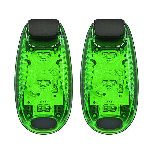 LED Sicherheit Licht Modi Clip auf Laufen Kragen Lichter für Runner Kids Jogger Radfahren Walk Hunde Bike, 2 Stück Grün
