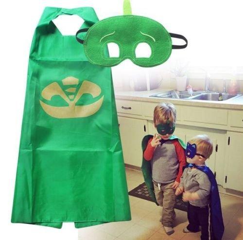 UK. Super Hero pjmask Umhang & Maske Set PJ Masken Kostüm Kids Birthday Party Favor B, Sonstige, Green cape&Mask, (Kostüm Supply Office)