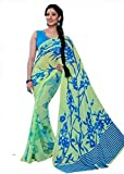 SilkMaya Fashion Designer GREEN AND BLUE FAUX GEORGETTE Saree