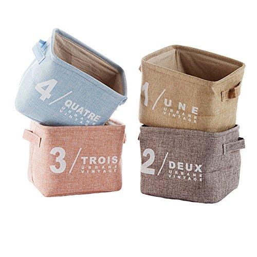 Aufbewahrungskorb stoffbox aufbewahrung bad aufbewahrung baby korb, klein Faltbar Wasserdicht 4Pcs Leinen Lagerung Stoff Organizer mit 2 Griffen auf beiden Seiten Korb Stoffbox Spielkiste -