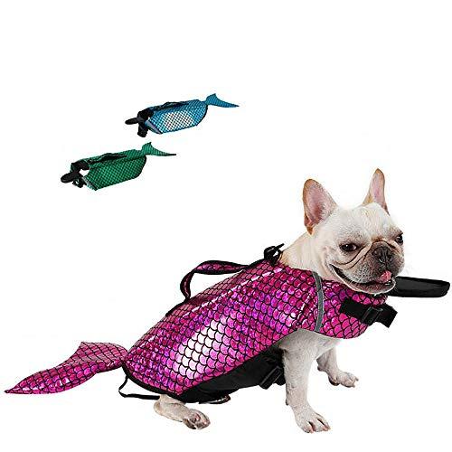 LIULINCUN Mode Meerjungfrau Hund Schwimmweste Sicherheit Reflektierende Hundekleidung Sommer Hund Schwimmweste Welpen Badeanzug Kleidung,Pink,S -