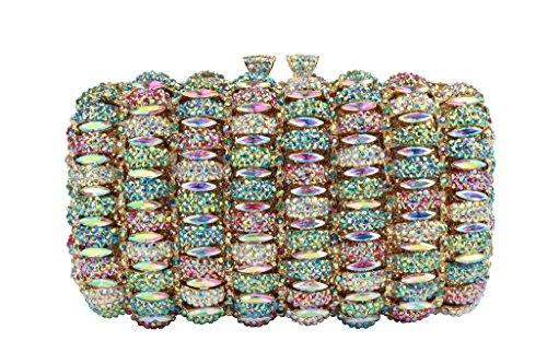Yilongsheng femmes Antique Prom cristal Embrayage Sacs AB colore
