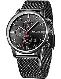 Megir Hommes belle Noir Casual Luxe Sport chronographe acier inoxydable Quartz Analogique Marque de Montre