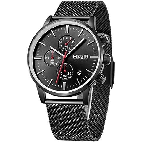 Megir Marcas Relojes Hombre Negro Acero lujo deportivos colores