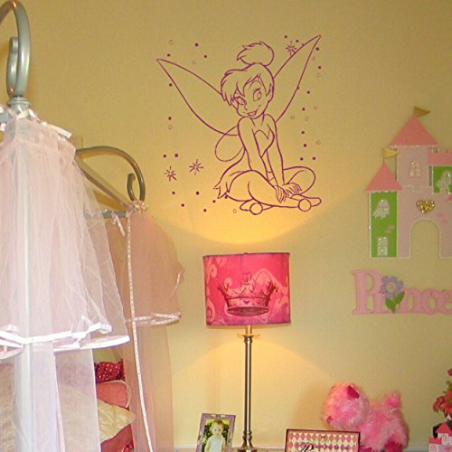 Preisvergleich Produktbild laographics® Tinkerbell Pretty Little Mädchen, Kinder vinyl kunst-Transfers, Kinder, die Innen Aufkleber Grafiken, abnehmbarer Girly Schlafzimmer Dekor, Kleinkind/Teen Geschenkidee zzz-go27, violett, ExtraSmall - 32x30cm