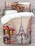 Adam Home 3D Digital Printing Bett Leinen Bettwäsche-Set Bettbezug + 1x Kissenbezug - Paris Painting (Alle Größen)