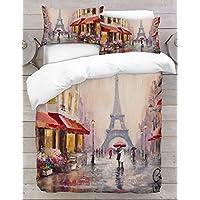 Adam Home 3D Digital Printing Bett Leinen Bettwäsche-Set Bettbezug + 2x Kissenbezug - Paris Painting (Alle Größen)