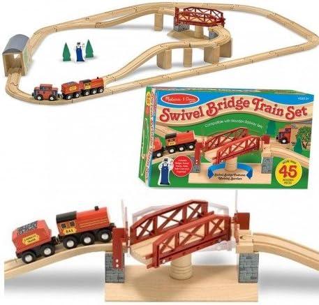Grand Circuit de train en bois et pont tournant 47 pcs Jouet en bois  s 4 | Pas Cher