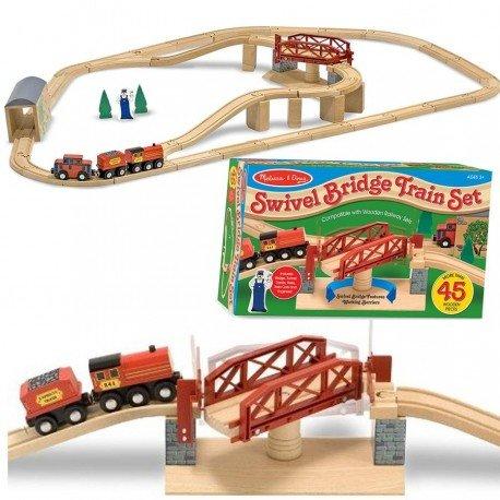 Grand Circuit de train en bois et pont tournant 47 pcs Jouet en bois Enfants 4 +