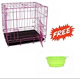 SRI Imported High Quality Dog Cage For Dog With Removable Tray (39 INCH ) (PINK)