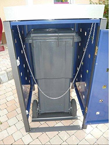 Resorti Mülltonnenbox Quadra 2-4 Mülltonnen mit 120 / 240 Liter Volumen Feuerverzinkt und Pulverbeschichtet inkl. Kippvorrichtung und Pflanzdach … (3 x 240 Liter, Anthrazit RAL7016) - 4