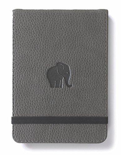 Dingbats D5512GY Wildlife A6+ Reporter Hardcover Notizbuch - PU-Leder, Mikroperforiert 100gsm Creme Seiten, Innentasche, Gummiband (Gepunktet, Grauer Elefant) (Pocket Corner Blatt)