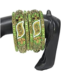 Royal Fancy Bangles:green Color Set Of 6 Hyderbadi Bangles Set For Women With First Quality Stone(2/4,2/6,2/8)