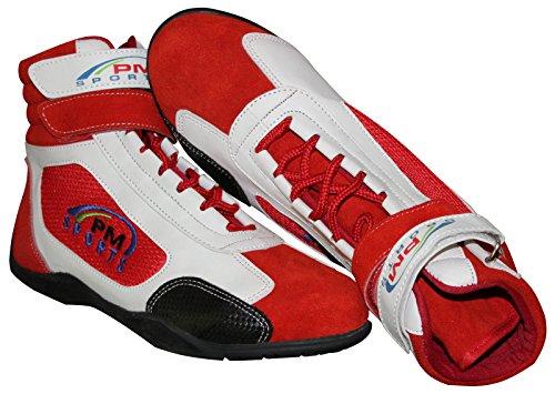 Botas de adulto, de piel sintética, ante y panel de malla, para kart, rally, circuito, blanco y rojo