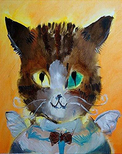 YEESAM ART Neuheiten Malen nach Zahlen Erwachsene Kinder, Katze Babysitter, Kätzchen 40x50 cm Leinen Segeltuch, DIY ölgemälde Weihnachten Geschenke