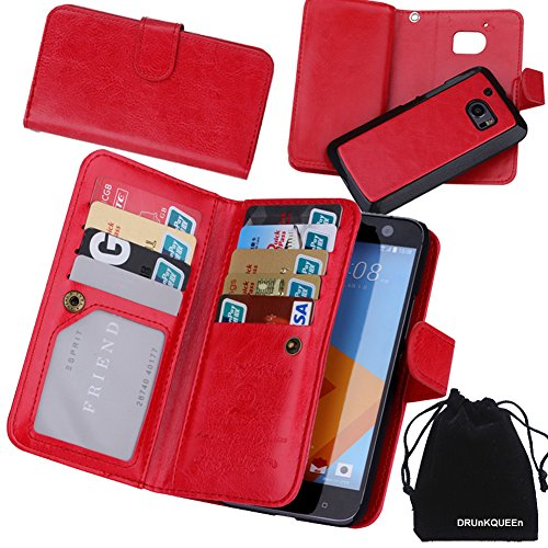 HTC 10 Case, DRUnKQUEEn Premium Leather Credit Card Holder Feature Wallet Type Flip Folio Case - Detachable Magnetic Back Cover with Lanyard Wrist Hand Strap for HTC10