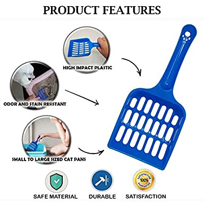 Volila Cat Litter Scoop With Strong Plastic Easy Handle For Pet Poop, Easy to Clean, Dark Blue (3 Pack)