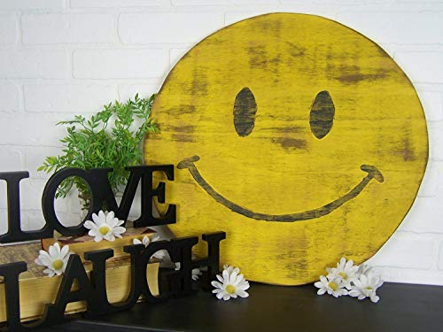 istiWood Holzschild mit Smiley-Gesicht, Happy Face Be Happy, rustikales Holzschild, Vintage-Schild, Hippie-Dekor, Hippie-Schild, Emoji-Dekor