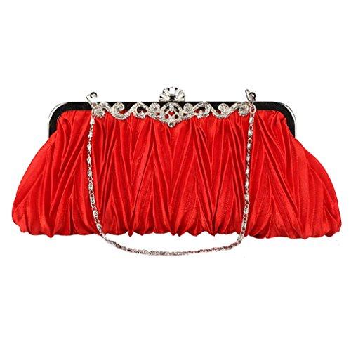 ACVIP Borsetta Diamante Finto Decorativo a Pieghe Rosso