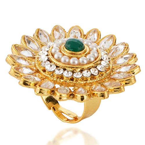 Yellow Chimes Traditional Kundan Studded Classic Gold Plated Cocktail Rings for Women & Girls