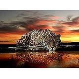 Zdmathe 30x40 DIY 5D Tier Leopard Diamant Malerei Kits für Erwachsene Kinder Malen nach Zahlen Teilweise Drill Malerei Kristall Strass Kreuzstich Stickerei Diamond Painting Kits Dekoration von Haus Wohnzimmer Mauer