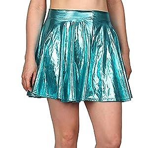 SUCES Damen Leder Röcke, Hohen Taille Mini Mode Faltenrock A-Linie Kurz Beiläufig Ballkleid Freizeit Stretch Rock Minirock Charmant Schön Tanzrock