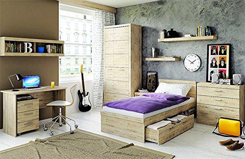 Jugendzimmer mit Bett 90x200cm Kleiderschrank 92 cm 6805 eiche san remo