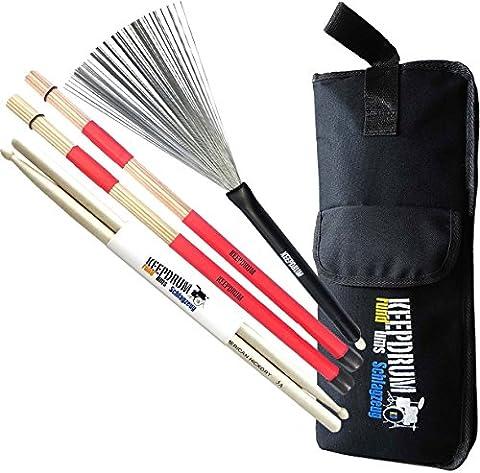 KEEPDRUM Stickbag + SV1 Rods + SV506 Switchbrush Besen + 5a Drumsticks (Hickory 5a Nylon Tip)