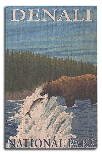 Bär Angeln in Fluss–Denali National Park, Alaska, holz, mehrfarbig, 10 x 15 Wood Sign