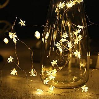 Queta Weihnachts-Lichterkette für Treppenfenster, 4 m, 40 Sterne, USB-betrieben, für den Innenbereich, Festival, Urlaub, Dekoration, Zubehör