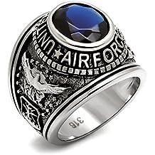 ISADY - US Air Force Saphir - Anillo Hombre - acero inoxidable - Circonita Azul